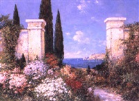 italian garden in bloom by f. arnold