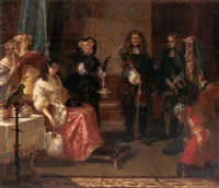 grinling gibbons' first introduction to the royal court by edward matthew ward