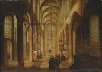 a church interior with an elegant couple in the foreground by peeter neeffs the elder
