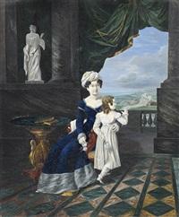mère et sa fille sur la terrasse d'un palais à colonnade by pietro benvenuti