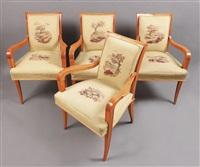 quatre fauteuils et deux bergères en sycomore by rené drouet