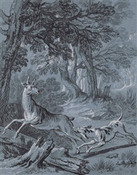 illustration of one of the fables of jean de la fontaine: the crow, the gazelle, the tortoise and the rat (i) by jean-baptiste oudry