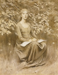 girl seated, writing by theodore robinson