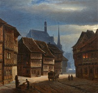 wernigerode marketplace by night by georg heinrich crola