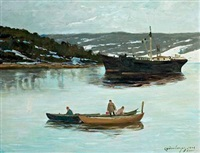 ship and people in prams on the bay off soon, norway by karl johannes andreas adam dørnberger