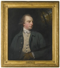 portrait of aubrey beauclerk, 5th duke of st. albans (1740 - 1802), hlaf length, wearing a green coat and holing a flintlock by joshua reynolds