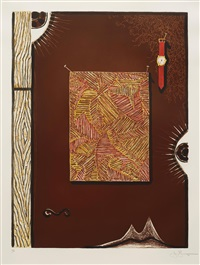 face with watch by jasper johns