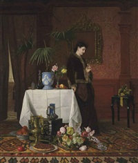 a woman in an interior by david emile joseph de noter