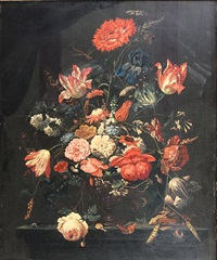 roses, tulips, carnations and other flowers in a glass vase on a table top, with a snail and a butterfly by abraham mignon