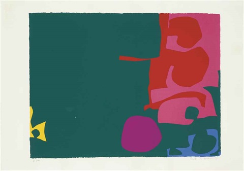 interlocking scarlet and pink in deep green by patrick heron