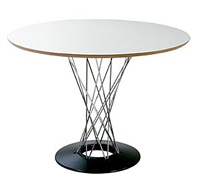 pour knoll. table ronde cyclone, plateau noir by isamu noguchi