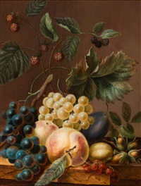 still life of fruit and nuts on a plinth by adriana johanna haanen