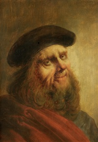 portrait of an elderly man, half-length, in a red robe and black hat by jan van de venne