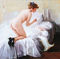 erotic scene with a woman by alexander akopov
