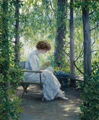 woman sewing by guy rose