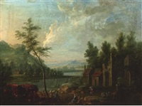 a river landscape with figures resting by a hamlet by maximilian blommaerdt