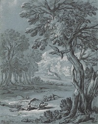 illustration of one of the fables of jean de la fontaine: the crow, the gazelle, the tortoise and the rat (iii) by jean-baptiste oudry