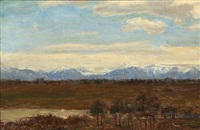 landscape with mountains in the background by paul-leon gagneau