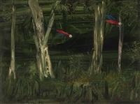 parrots and bush by albert lee tucker