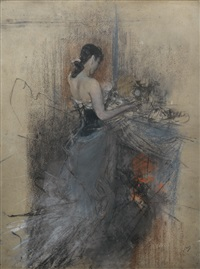 by the fireside by giovanni boldini