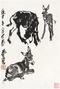 黄 胄(1925-1997) 墨驴图 by huang zhou