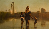the way from the village - time of inundation by frederick goodall