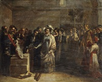 la duchesse d'angoulême posant la première pierre du monument élevé aux victimes de quiberon by louis-charles-auguste couder