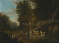 rustic festival in a rocky wooded landscape by jean antoine watteau
