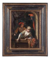 coppia di giovani alla finestra con pappagallo by gerrit dou