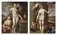 juno holding a golden vessel and a moneybag (+ minerva holding a lance while being crowned with laurels by a putto; pair) by jacob de backer
