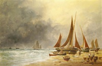 barques de pêche sur la grève by edouard (the younger) adam