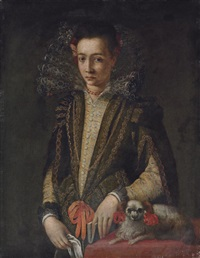 portrait of a girl in a black and gold embroidered dress with a lace collar, a book in her left hand, a handkerchief in her right by sofonisba anguissola