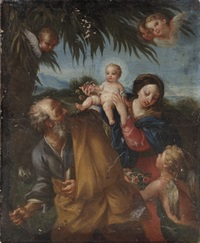 the holy family with the infant saint john the baptist by flaminio (dagli ancinelli) torri