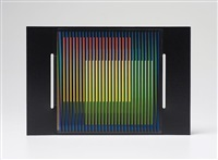 cromointerferncia manipulable feria estampa (2 works mntd on single sheet) by carlos cruz-diez