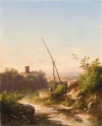 contadina nel paesaggio con antico borgo in lontananza by guido agostini
