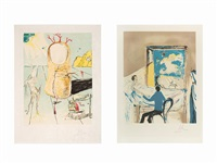 la lutte contre le mal from l'aventure médicale and the vision of the angel of cap creus or the thumb (2 works, different sizes)'the vision of the angel of cap creus' or 'the thumb' by salvador dalí