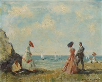 elegant figures by the coast, with sailing boats at sea by raoul millais