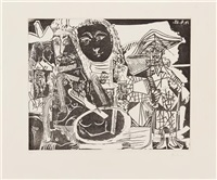 arlequin et personnages divers (from serie 347) by pablo picasso