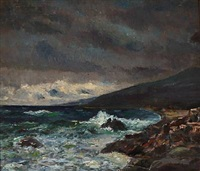coastal scene with storm by carl (jens erik c.) rasmussen