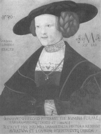 portrait of barbara kiligerin, aged 20, half length in a  dark red brocade and a black hat by hans maler