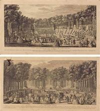 vue des bosquets du jardin de versailles (+ le théatre d'eau à versailles; 2 works) by jacques rigaud