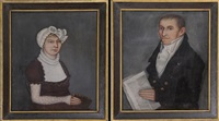 portrait of ashbel stoddard (+ portrait of patience bolles stoddard; pair) by ammi phillips