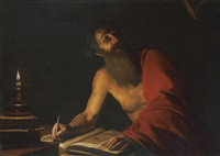 saint jerome reading by candlelight by trophîme (theophisme) bigot the elder