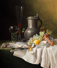 still life with jug, glassware, fruit and fish by jos aanraad