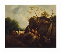 a drover and his cattle with a travel on horseback on a path by thomas gainsborough