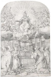 sts. catherine, barbara, ursula and three other female saints adoring the virgin in glory by hans werl