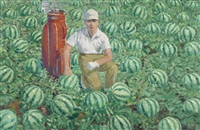 golfer and watermelons no. 1 by wang xingwei