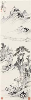 山水 立轴 水墨纸本 by hong wu