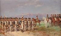 l'empereur et son état-major passant en revue la garde impériale by emile chepfer