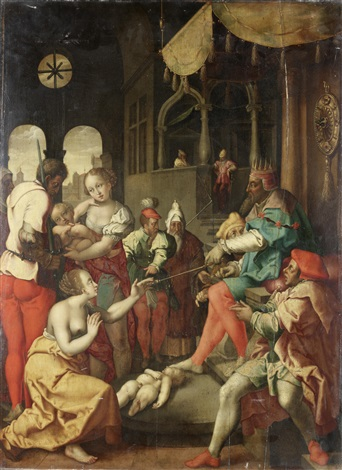 the judgment of solomon after engraving by heinrich aldegrever by flemish school 16